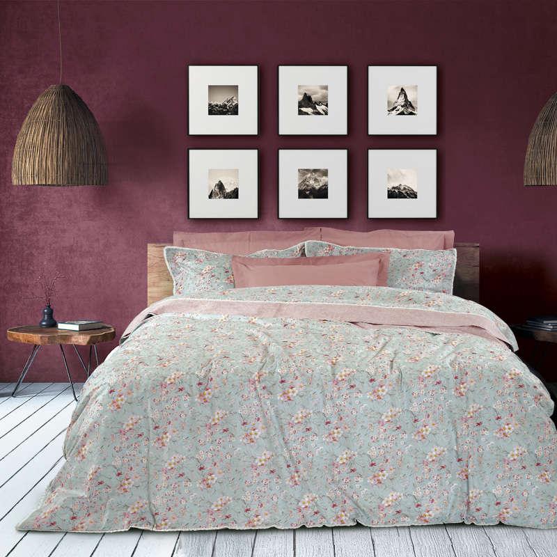 Παπλωματοθήκη Σετ Prestige 1616 Mint-Pink Das Home Υπέρδιπλo 220x240cm