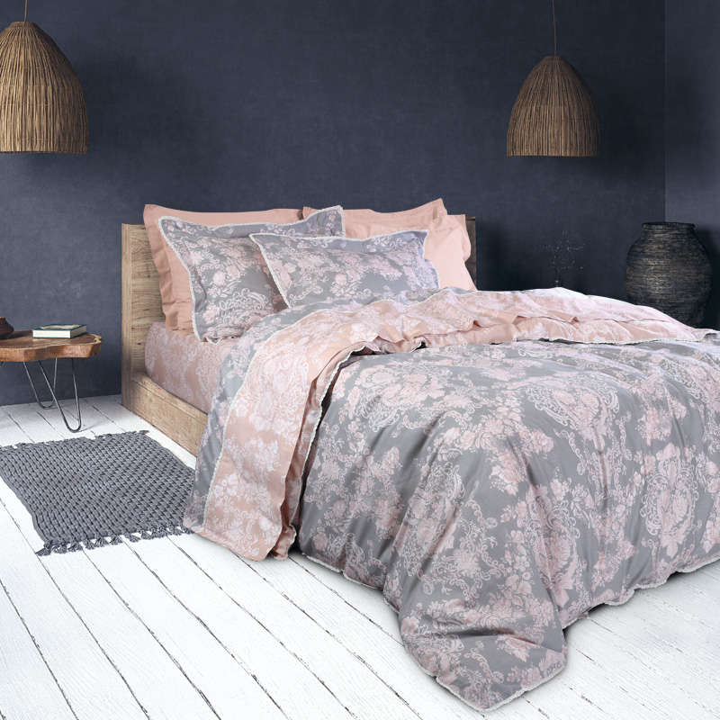 Παπλωματοθήκη Σετ Prestige 1617 Grey-Somon Das Home Υπέρδιπλo 220x240cm