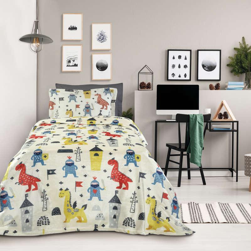 Κουβέρτα Παιδική Fleece 4707 Kid Cream-Ciel Das Kids Μονό