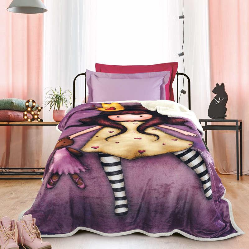 Κουβέρτα Παιδική Fleece Sherpa 5021 Santoro Gorjuss- Princesses Purple Das Kids Μονό 160x220cm