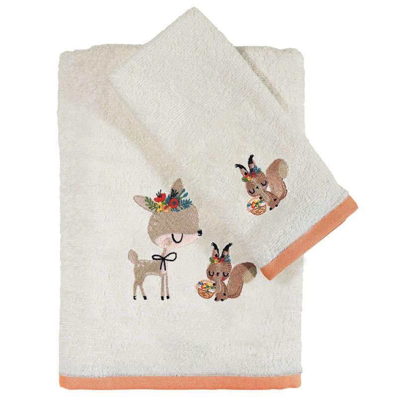 Πετσέτες Βρεφικές Σετ Κεντητές 2τμχ 4702 Baby Fun Embroidery Cream-Somon Das Baby Σετ Πετσέτες