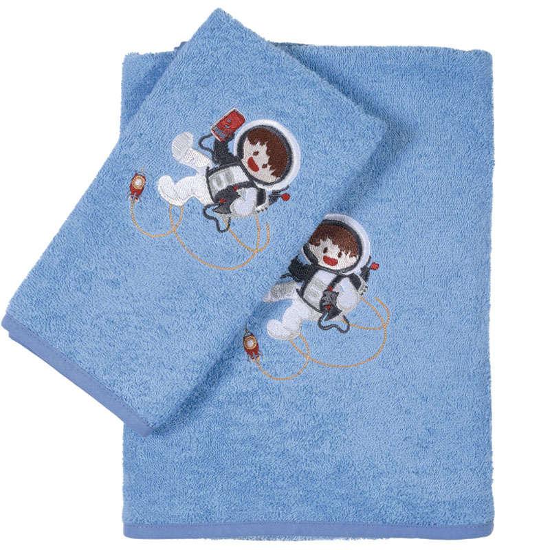 Πετσέτες Βρεφικές Σετ Κεντητές 2τμχ 6560 Baby Smile Embroidery Light Blue Das Baby Σετ Πετσέτες 70x140cm