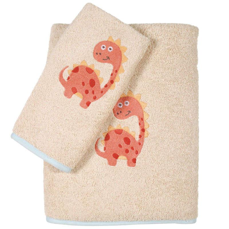 Πετσέτες Βρεφικές Σετ Κεντητές 2τμχ 6559 Baby Smile Embroidery Beige Das Baby Σετ Πετσέτες 70x140cm