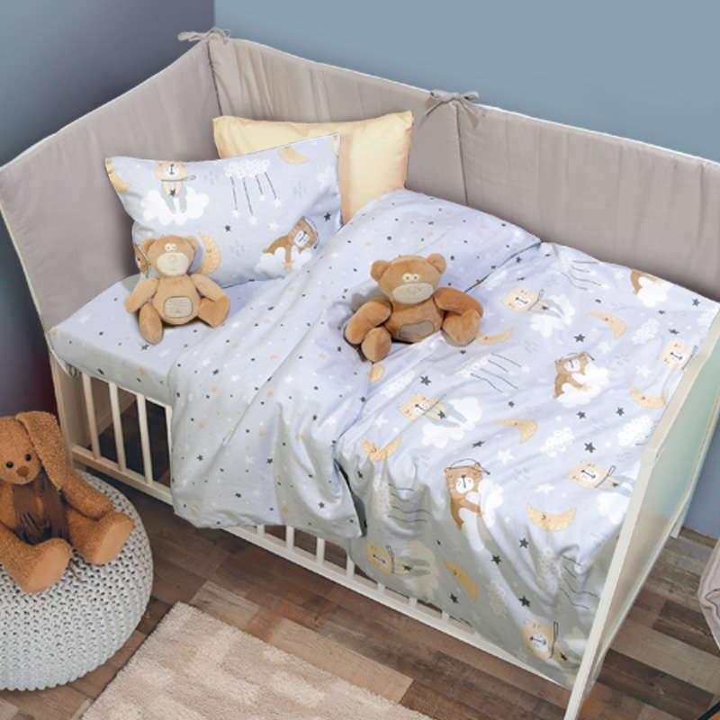 Σεντόνια Βρεφικά Σετ 6554 Baby Fun Grey-Beige Das Baby Κούνιας 120x170cm