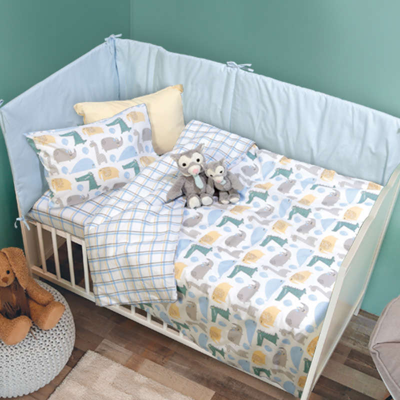 Σεντόνια Βρεφικά Σετ 6555 Baby Fun Grey-Ciel Das Baby Κούνιας 120x170cm