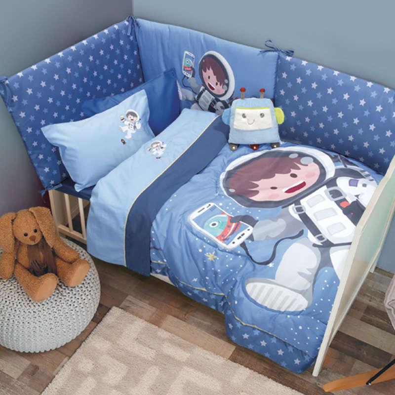 Σεντόνια Βρεφικά Σετ 6560 Baby Smile Embroidery Light-Blue Das Baby Κούνιας 120x160cm
