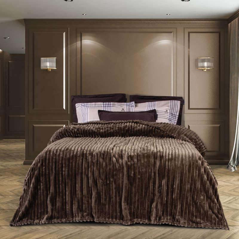 Κουβέρτα Fleece 2442 Brown G.P.C. Υπέρδιπλo 220x240cm