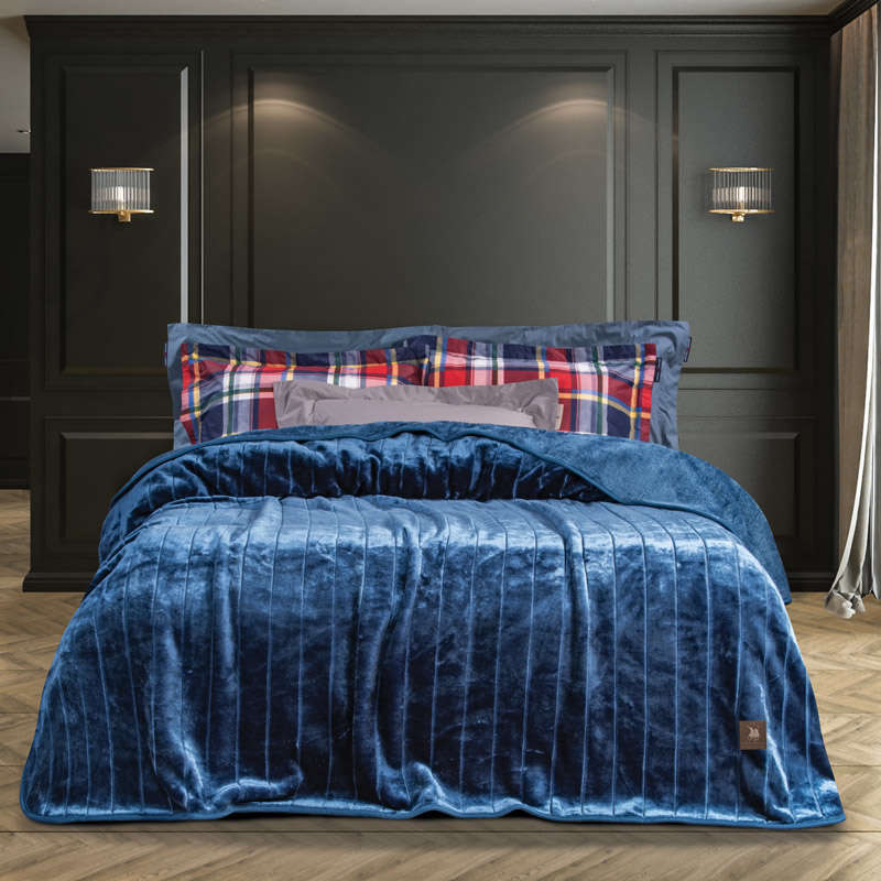Κουβέρτα Velour 2450 Blue G.P.C. Μονό 160x220cm