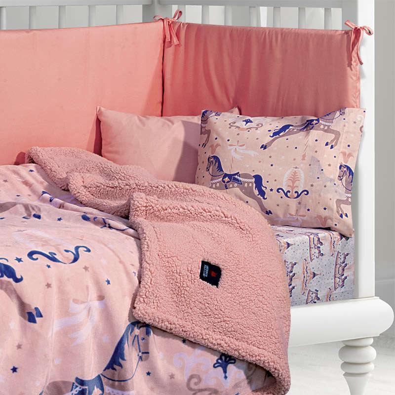 Κουβέρτα Βρεφική Fleece Sherpa 2923 Purple-Pink G.P.C. Κούνιας 110x140cm