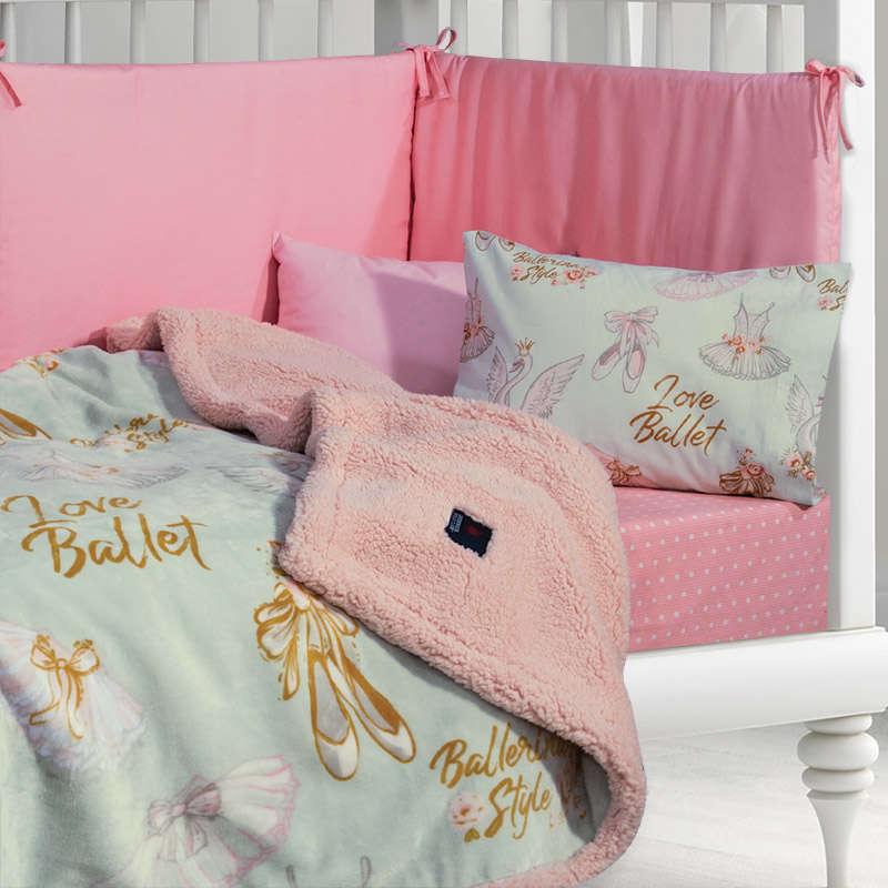Κουβέρτα Βρεφική Fleece Sherpa 2924 Pink -Mint G.P.C. Κούνιας 110x140cm