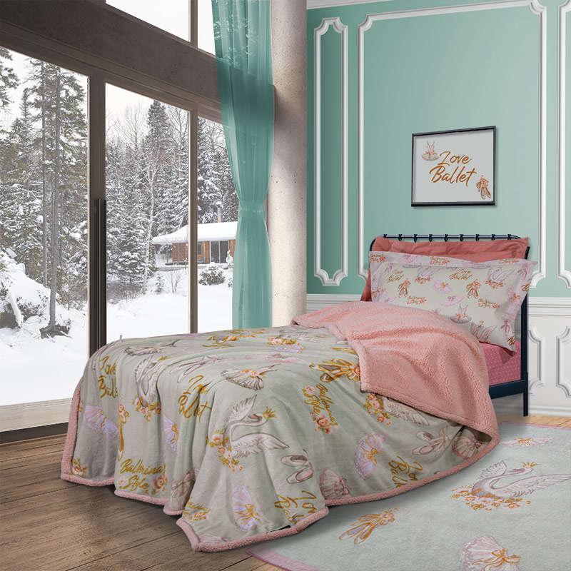 Κουβέρτα Παιδική Sherpa 2924 Pink -Mint G.P.C. Μονό 160x220cm