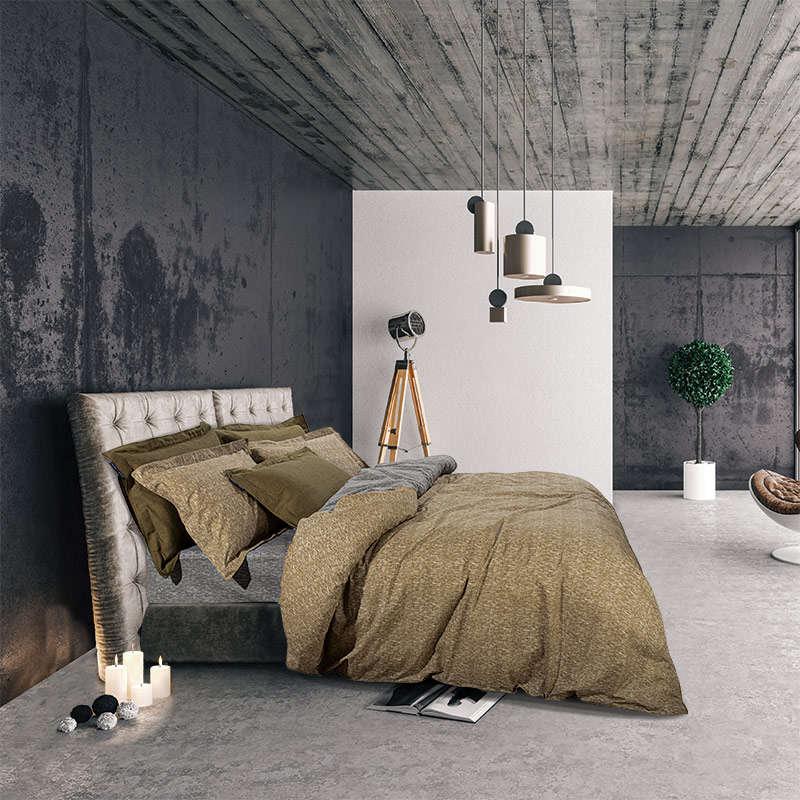 Σεντόνια Σετ 2062 Olive-Grey G.P.C. Μονό 170x260cm