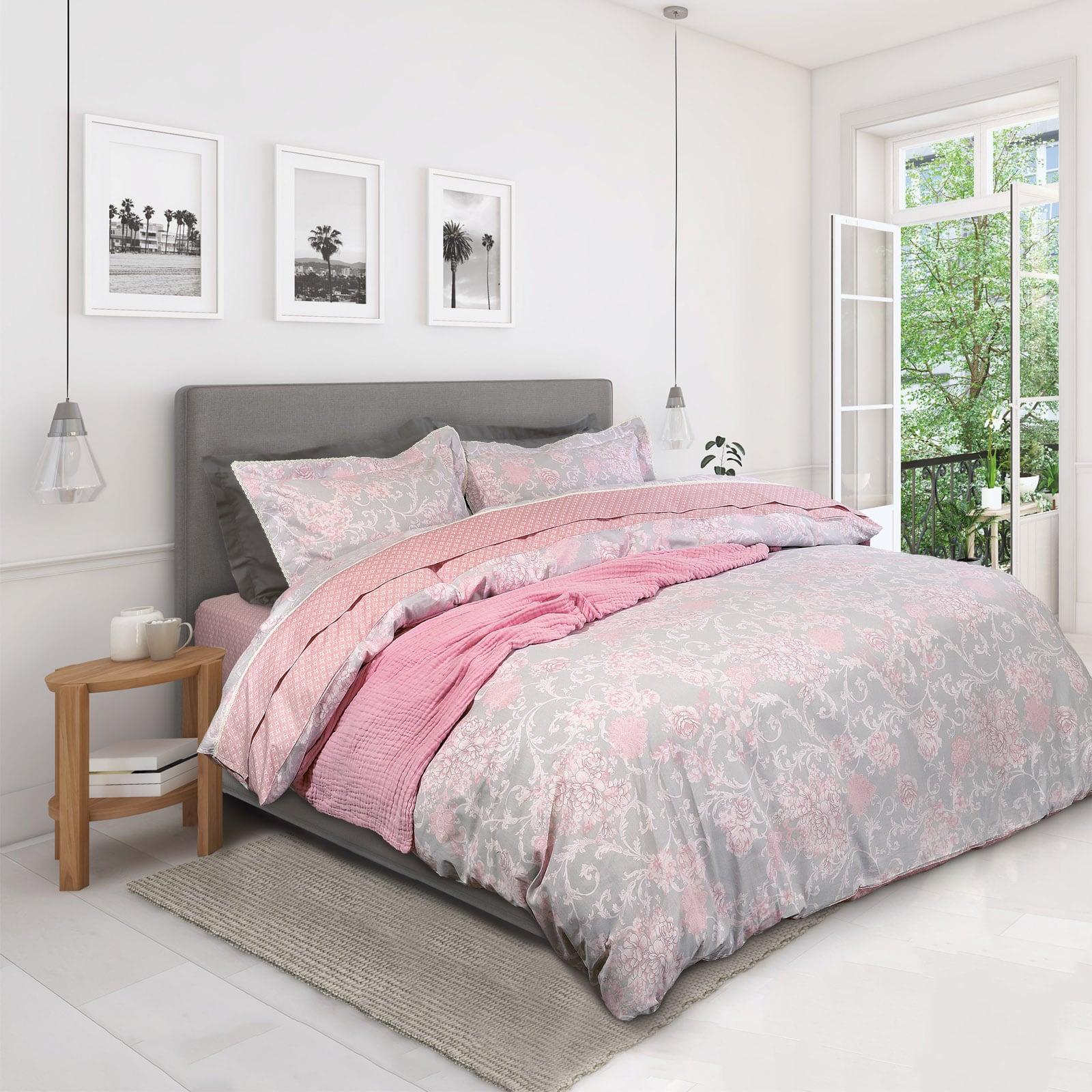 Σεντόνια Σετ 4τμχ 1625 Prestige Grey-Pink Das Home Υπέρδιπλo 230x260cm