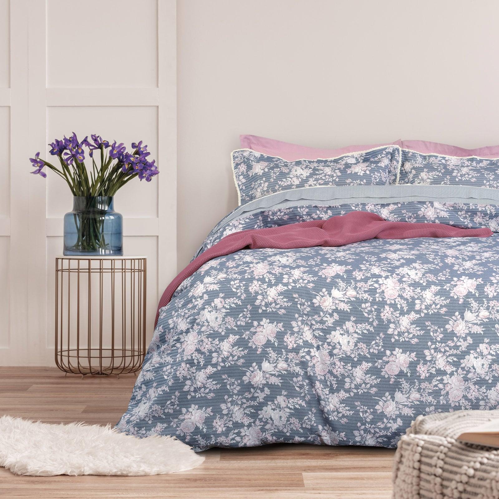 Σεντόνια Σετ 4τμχ 1623 Prestige Blue-Pink Das Home Υπέρδιπλo 230x260cm