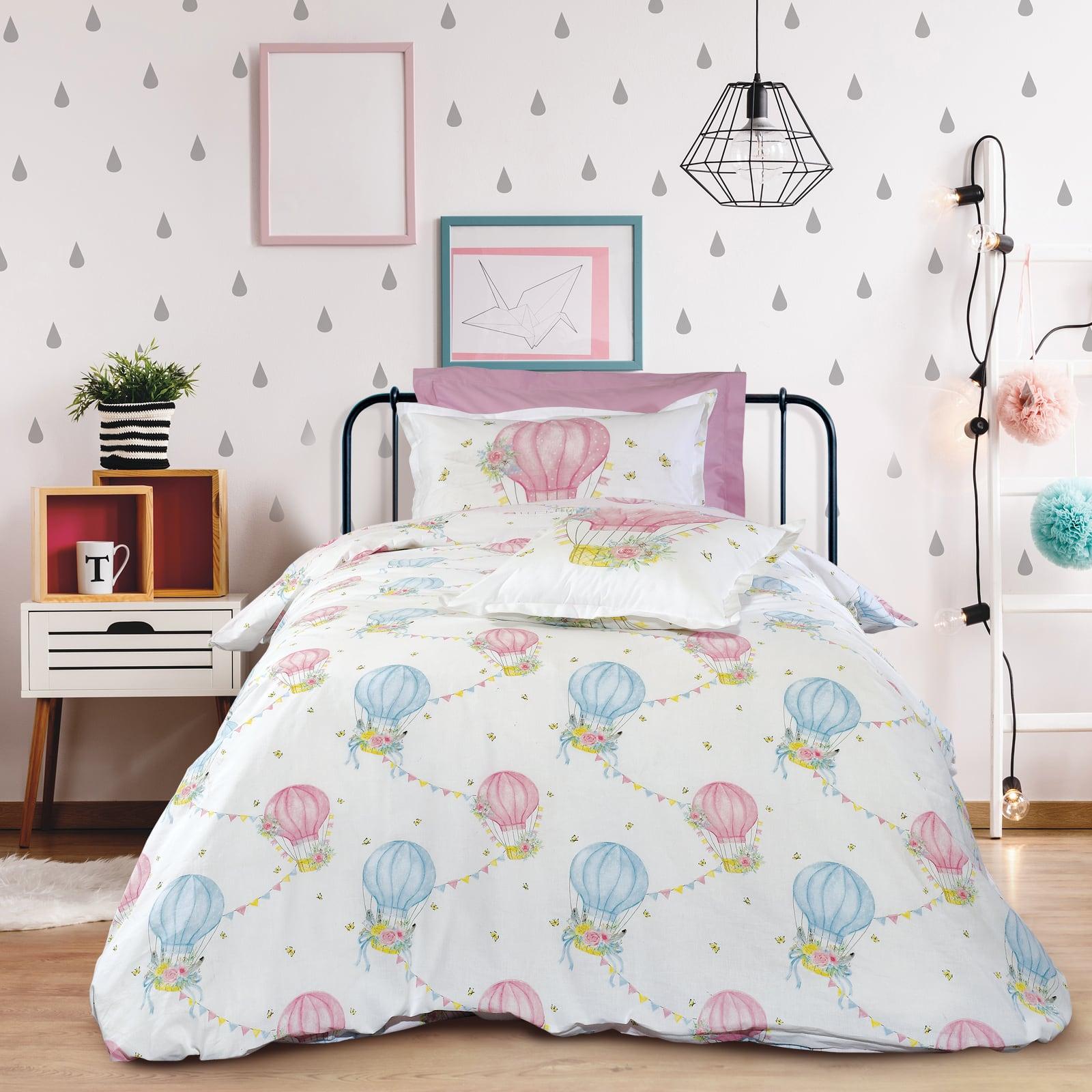 Σεντόνια Παιδικά 4716 Σετ 4τμχ White-Pink-Light Blue Das Kids Μονό 170x260cm