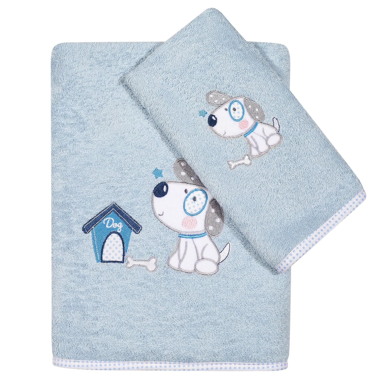 Πετσέτες Βρεφικές Κεντητές 6575 Σετ 2τμχ Baby Smile Embroidery Light Blue Das Baby Σετ Πετσέτες 70x140cm