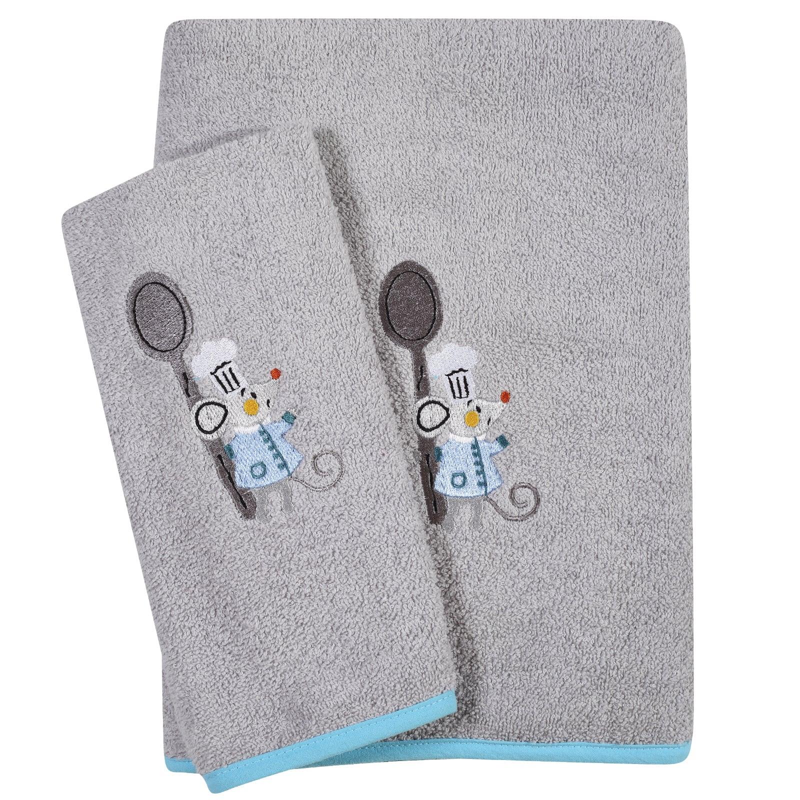 Πετσέτες Βρεφικές Κεντητές 6581 Σετ 2τμχ Baby Smile Grey Das Baby Σετ Πετσέτες 70x140cm