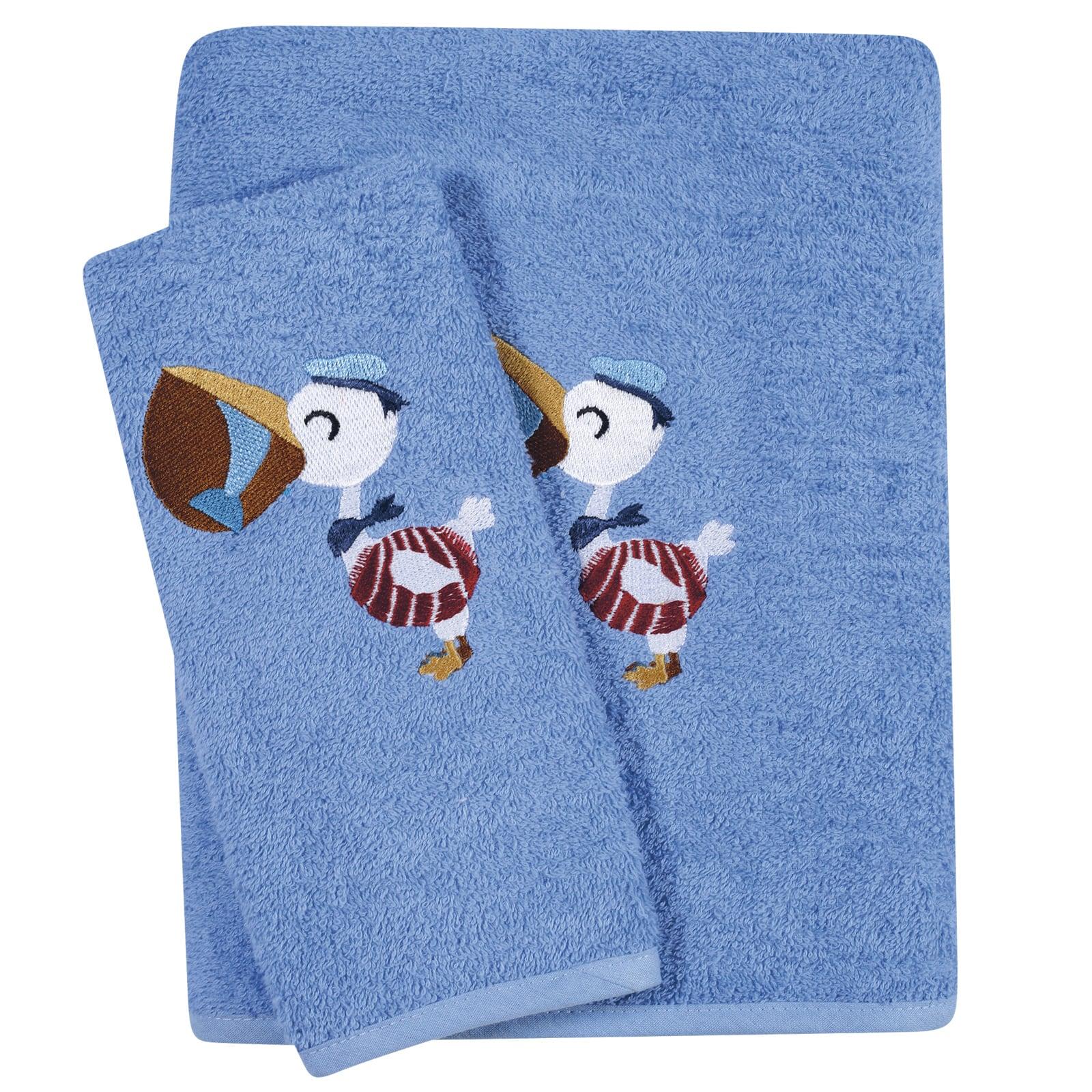 Πετσέτες Βρεφικές Κεντητές 6582 Σετ 2τμχ Baby Smile Blue Das Baby Σετ Πετσέτες 70x140cm