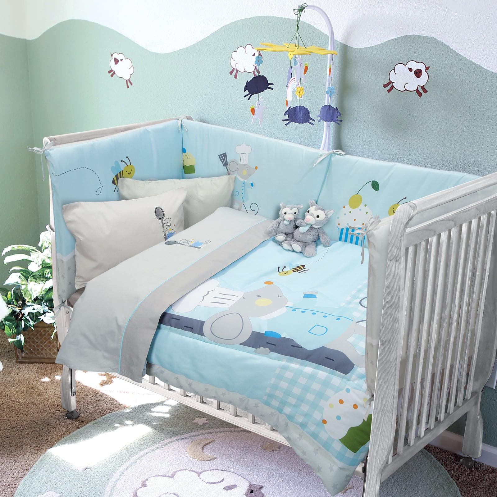 Σεντόνια Βρεφικά 6581 Σετ 3τμχ Baby Smile Embroidery Grey-Light Blue Das Baby Κούνιας 120x160cm