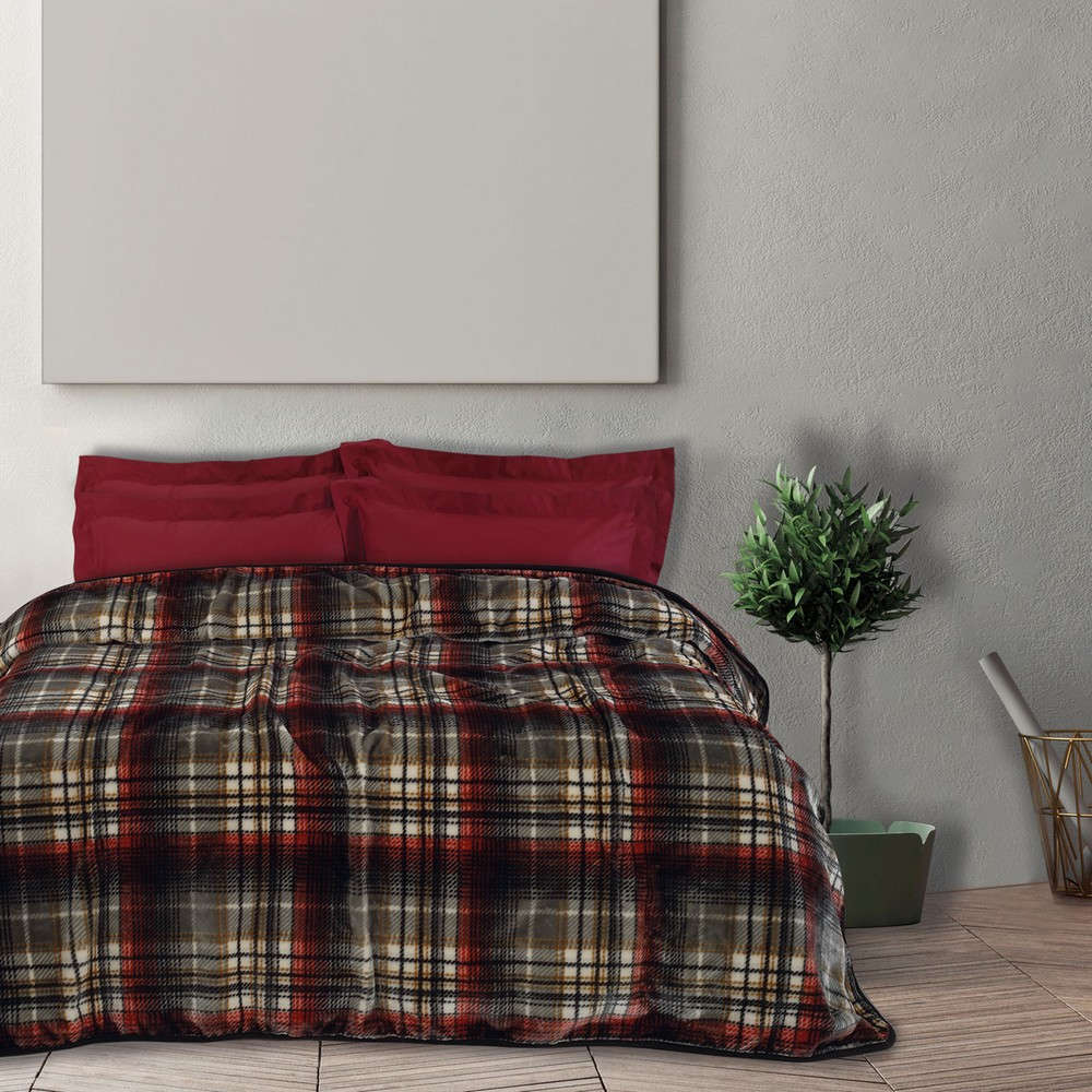Κουβέρτα Velour 0451 Bordo-Black Das Home Μονό 160x220cm