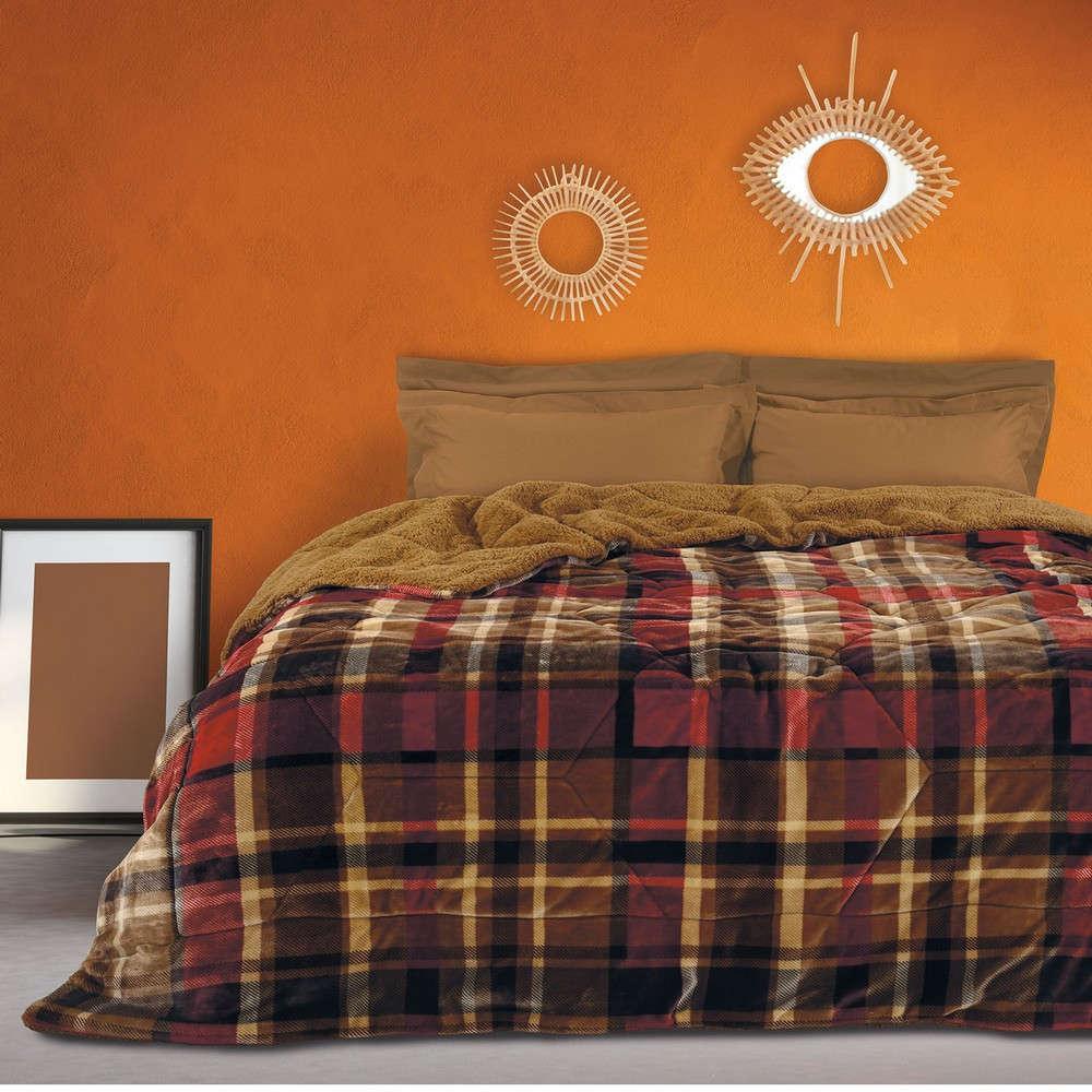 Κουβερτοπάπλωμα Sherpa 1145 Brown-Beige Das Home Μονό 160x220cm