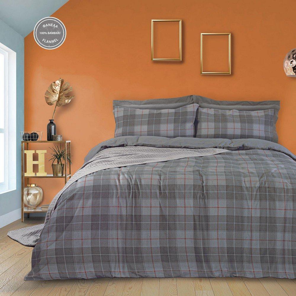 Παπλωματοθήκη 9492 Happy Flannel Σετ 2τμχ Grey Das Home Μονό 160x240cm