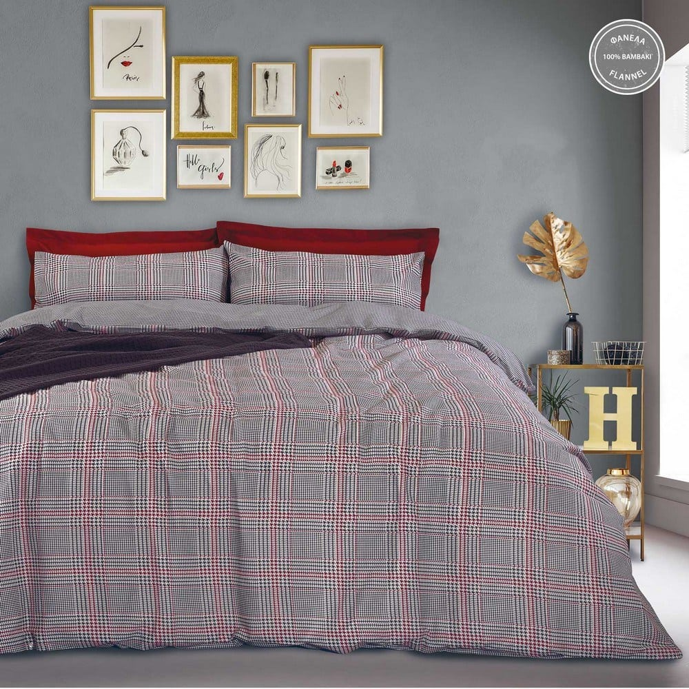 Παπλωματοθήκη 9493 Happy Flannel Σετ 2τμχ Black-Red Das Home Μονό 160x240cm