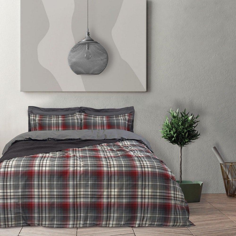 Σεντόνια 9504 Happy Σετ 3τμχ Με Λάστιχο Grey-Bordo Das Home Μονό 120x235cm