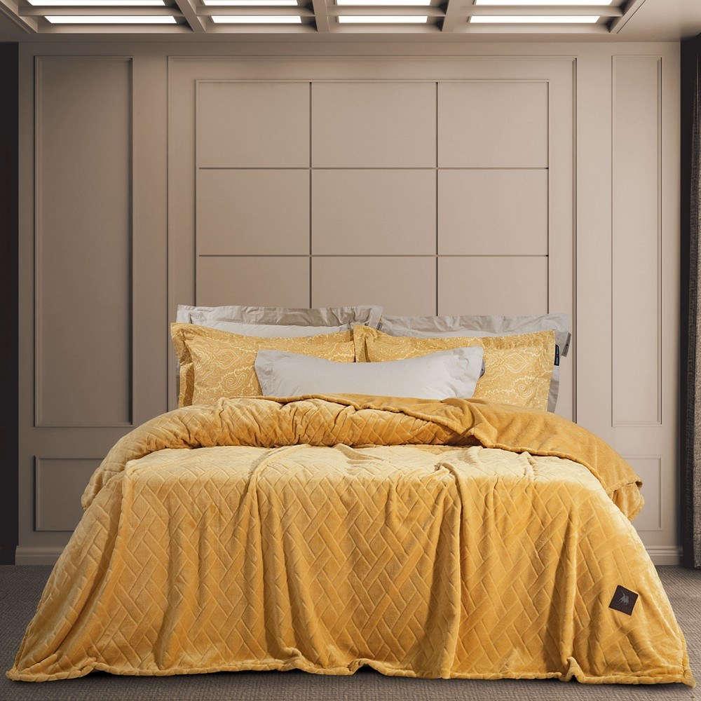 Κουβέρτα Fleece 2457 Ochre G.P.C. Μονό 160x240cm