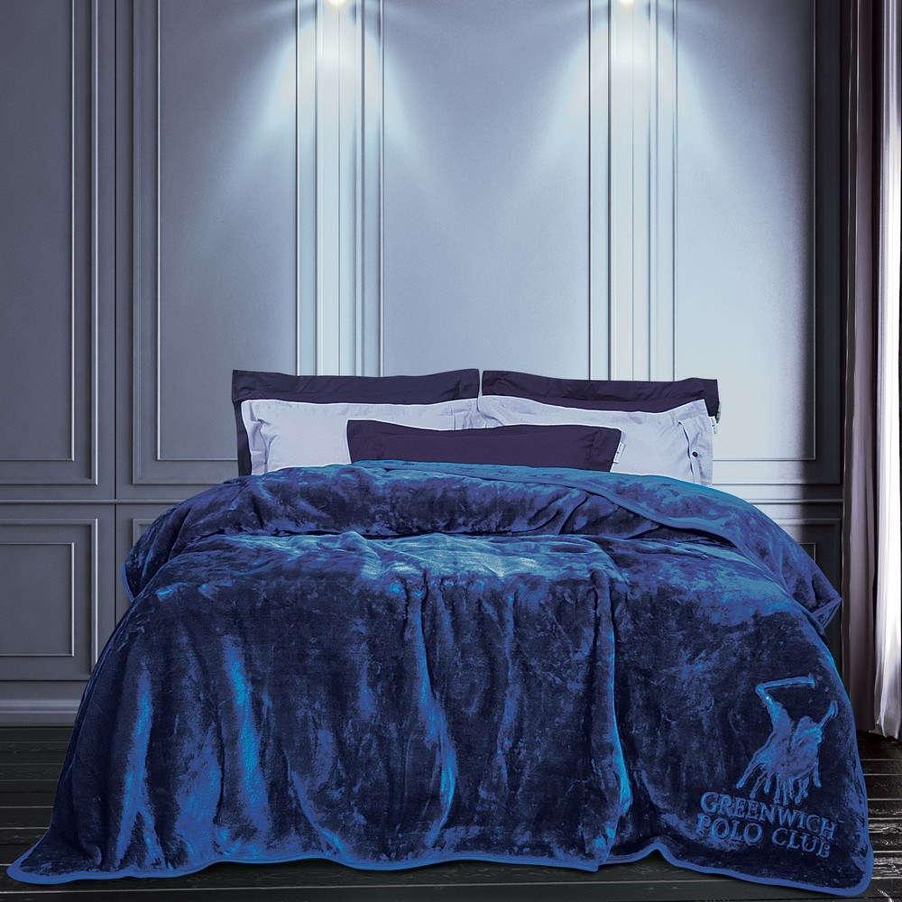 Κουβέρτα Velour 2455 Blue G.P.C. Μονό 160x240cm