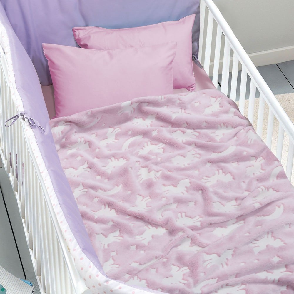 Κουβέρτα Βρεφική Fleece 4734 Relax Pink-Ecru Das Home Αγκαλιάς 80x110cm