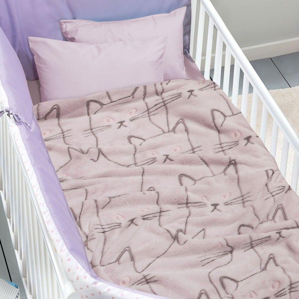 Κουβέρτα Βρεφική Fleece 4735 Relax Pink-Grey Das Home Αγκαλιάς 80x110cm