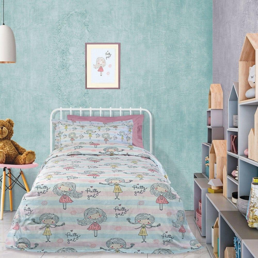 Κουβέρτα Παιδική 4728 Fleece Pink-Light Blue-White Das Home Μονό 160x220cm