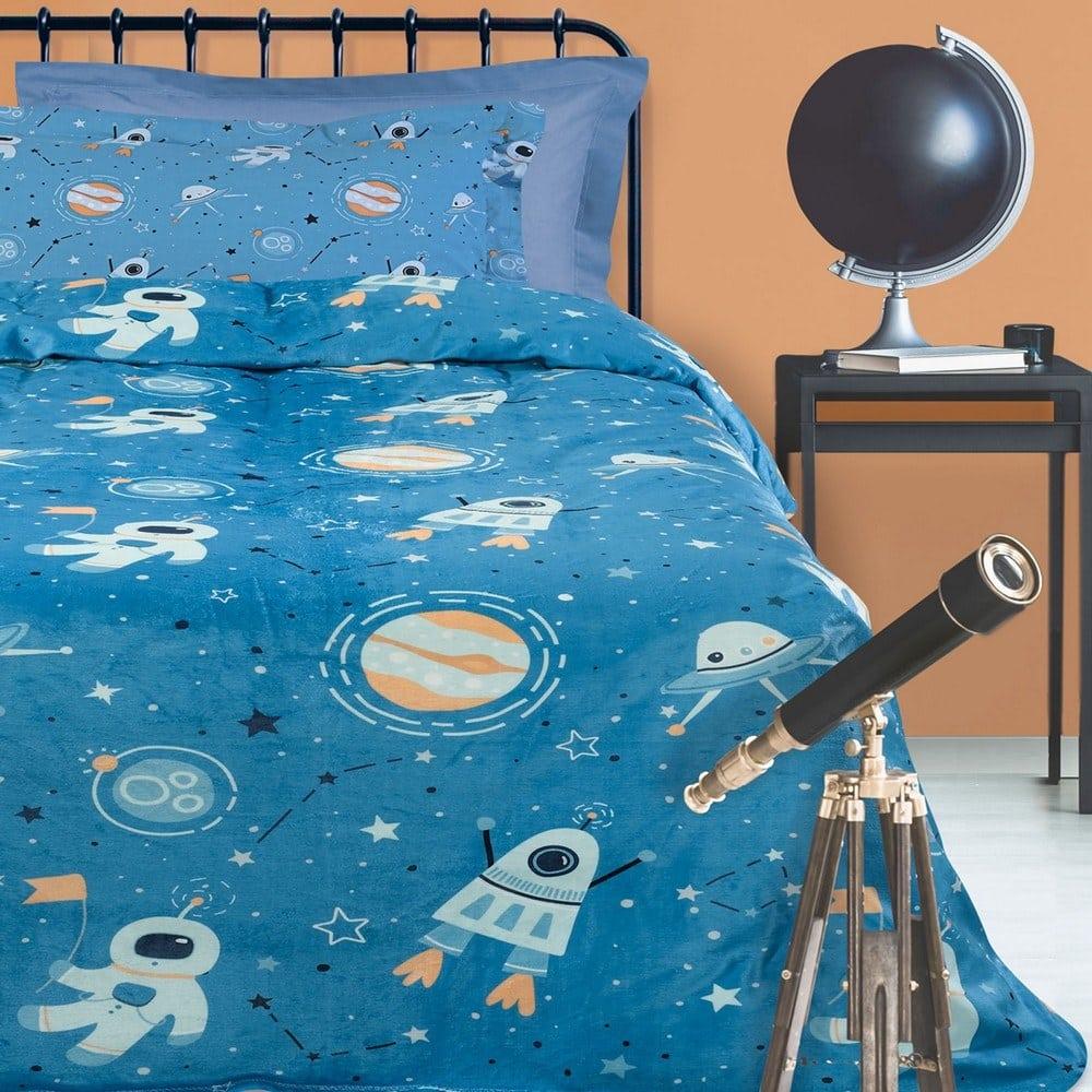 Κουβέρτα Παιδική 4729 Fleece Petrol-White-Orange Das Home Μονό 160x220cm
