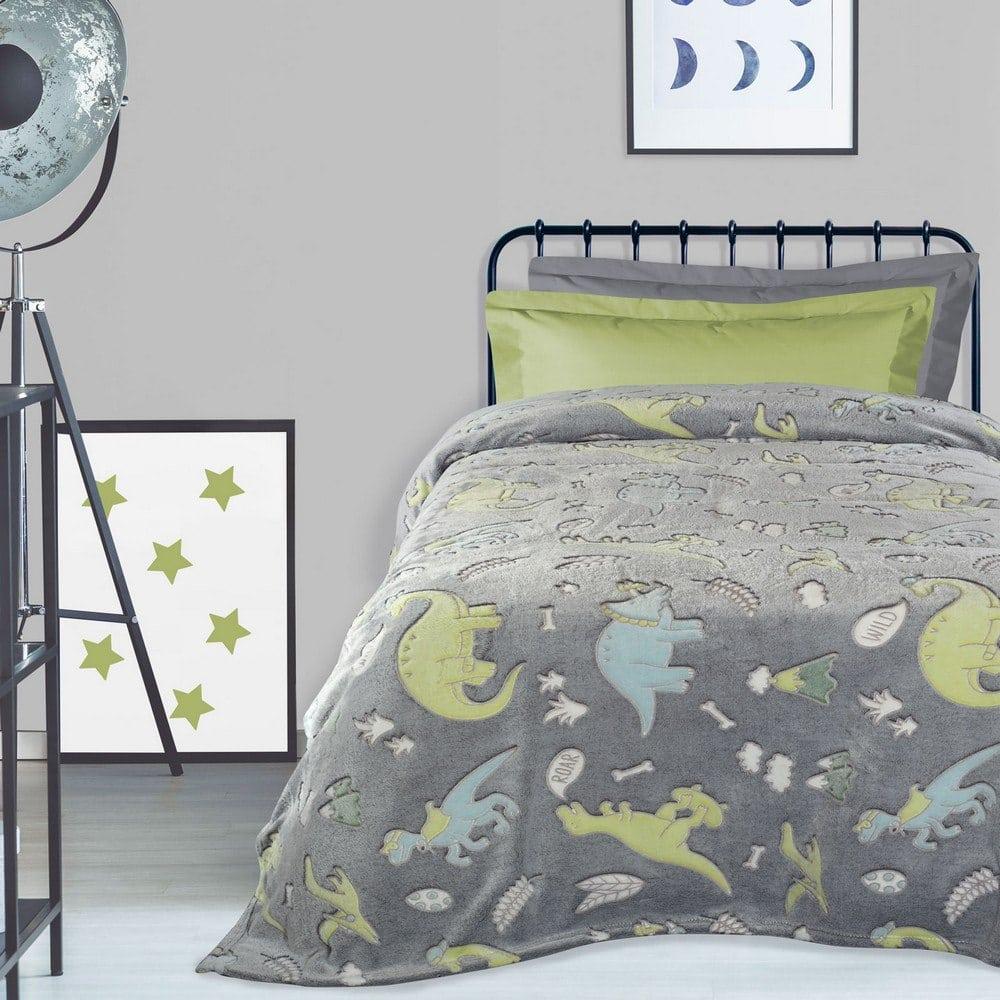 Κουβέρτα Παιδική 4736 Fleece Grey-Green-Ciel Das Home Μονό 160x220cm
