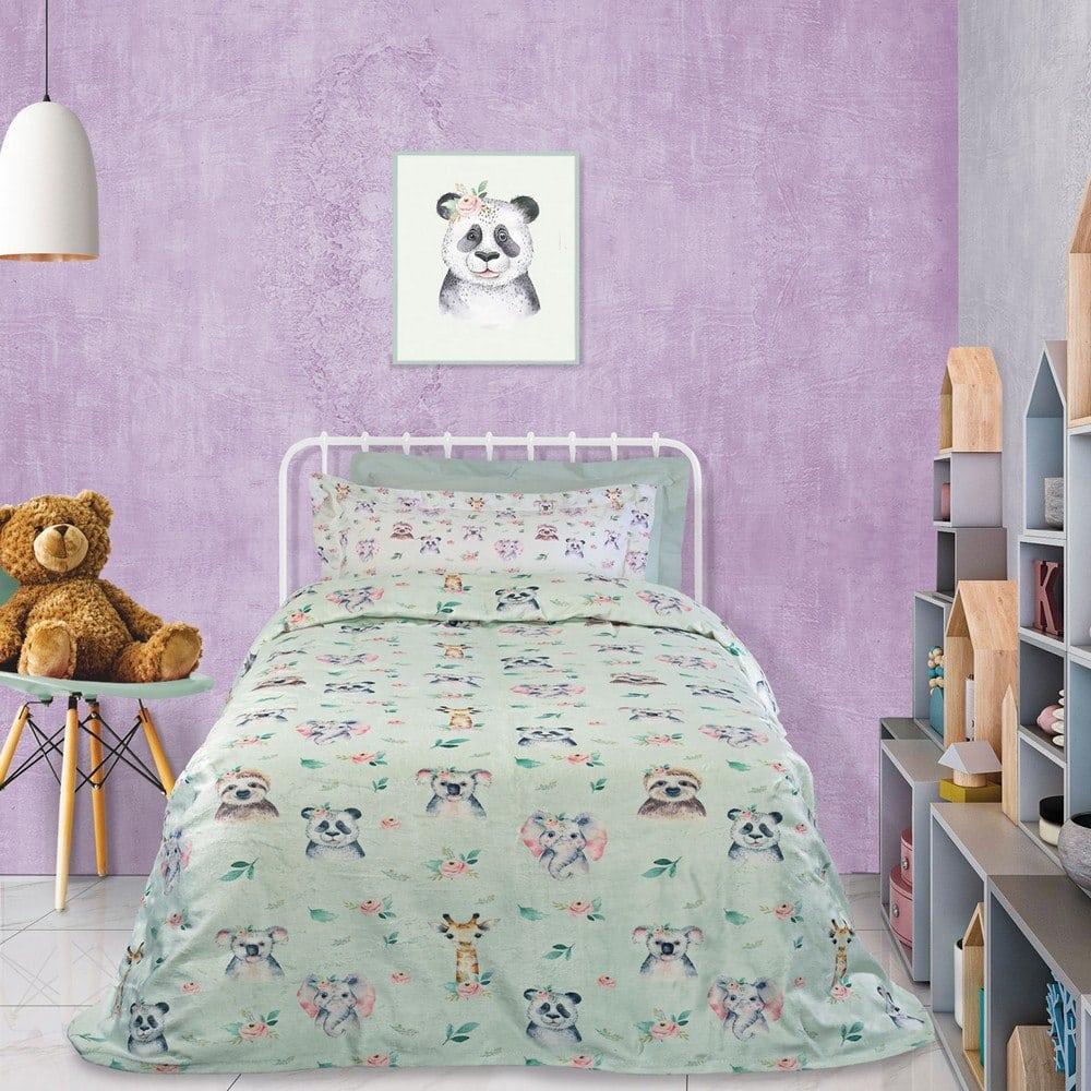 Κουβέρτα Παιδική 4739 Fleece Mint-Beige-Somon Das Home Μονό 160x220cm