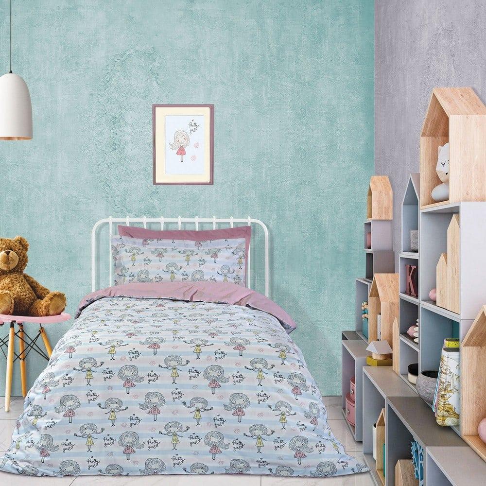 Παπλωματοθήκη Παιδική 4728 Σετ 2τμχ Pink-Light Blue-White Das Home Μονό 160x240cm
