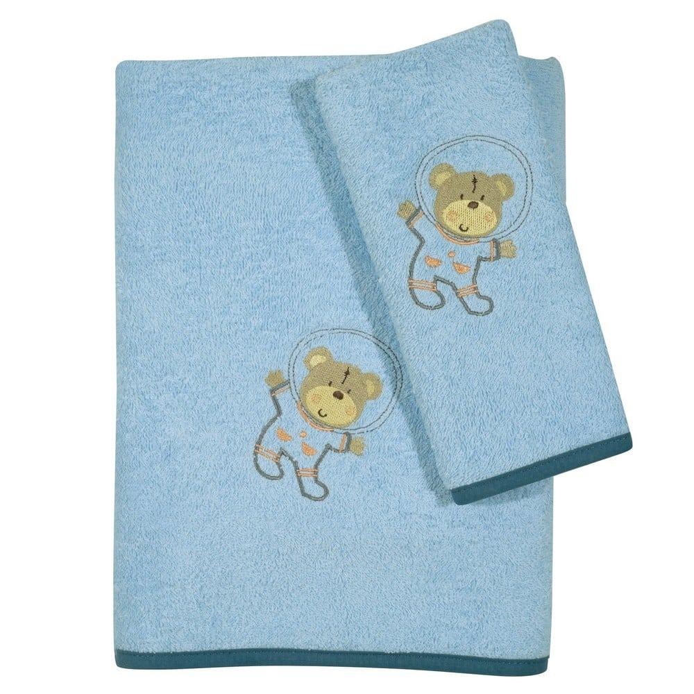 Πετσέτες Βρεφικές 6598 Κεντητές Σετ 2τμχ Baby Smile Light Blue Das Home Σετ Πετσέτες 70x130cm