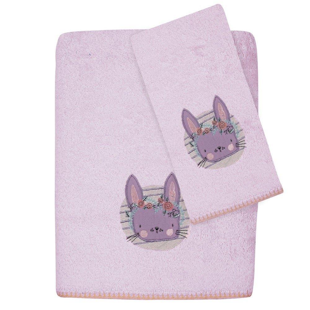 Πετσέτες Βρεφικές 6600 Κεντητές Σετ 2τμχ Baby Smile Lila-Pink Das Home Σετ Πετσέτες 70x140cm