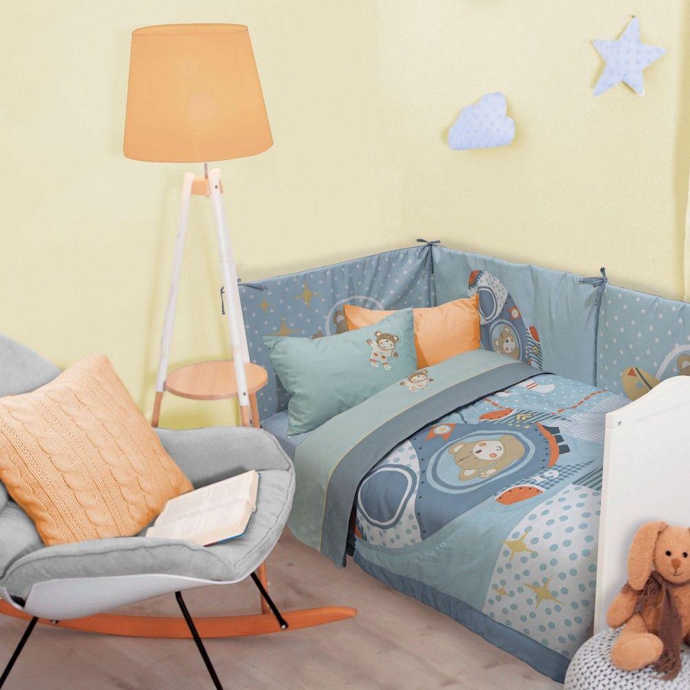 Σεντόνια Βρεφικά 6598 Σετ 3τμχ Baby Smile Embroidery Light Blue Das Home Κούνιας 120x160cm