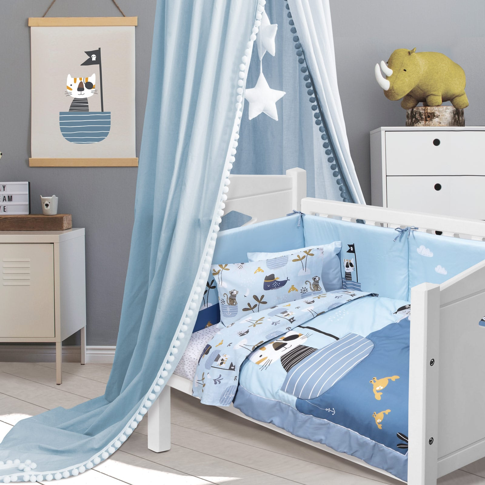 Πάντα Κούνιας 4748 Fun Baby Digital Light Blue-Ocher Das Home 45x195cm