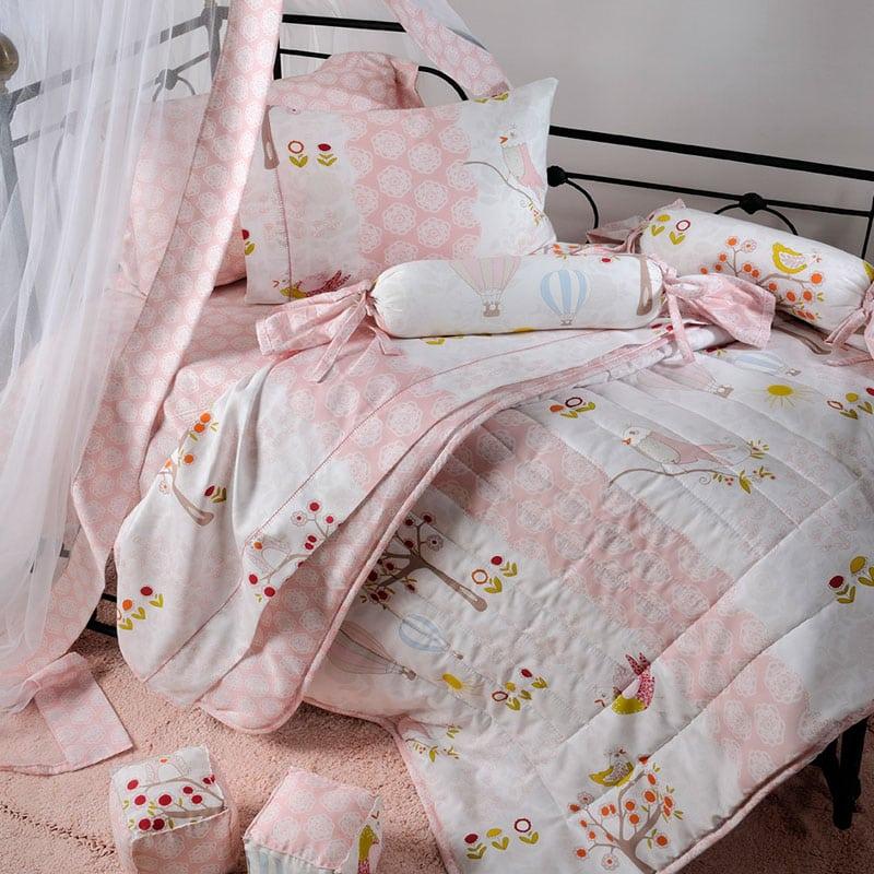 Κουβερλί Βρεφικό ΣΧ.120 White-Pink Down Town Κούνιας 95x145cm