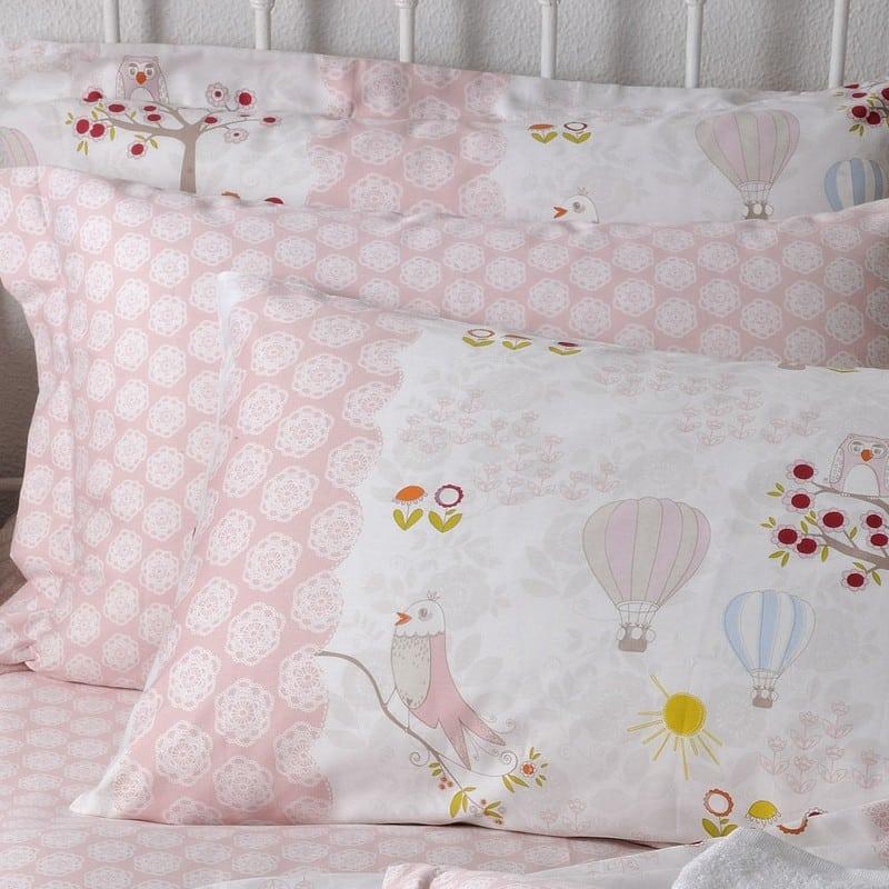 Μαξιλαροθήκες Παιδικές ΣΧ.120 Σετ 2τμχ Με Φάσα Pink Down Town 52X75