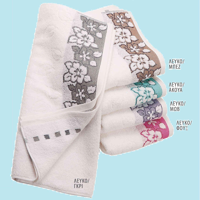 Πετσέτα Ζακάρ Zero Twist Ερατώ Λευκό-Φούξια DimCol Σώματος 90x150cm