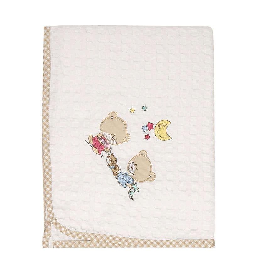 Κουβέρτα Πικέ Βρεφική Happy Bears 21 Λευκό-Μπεζ DimCol Κούνιας 100x160cm