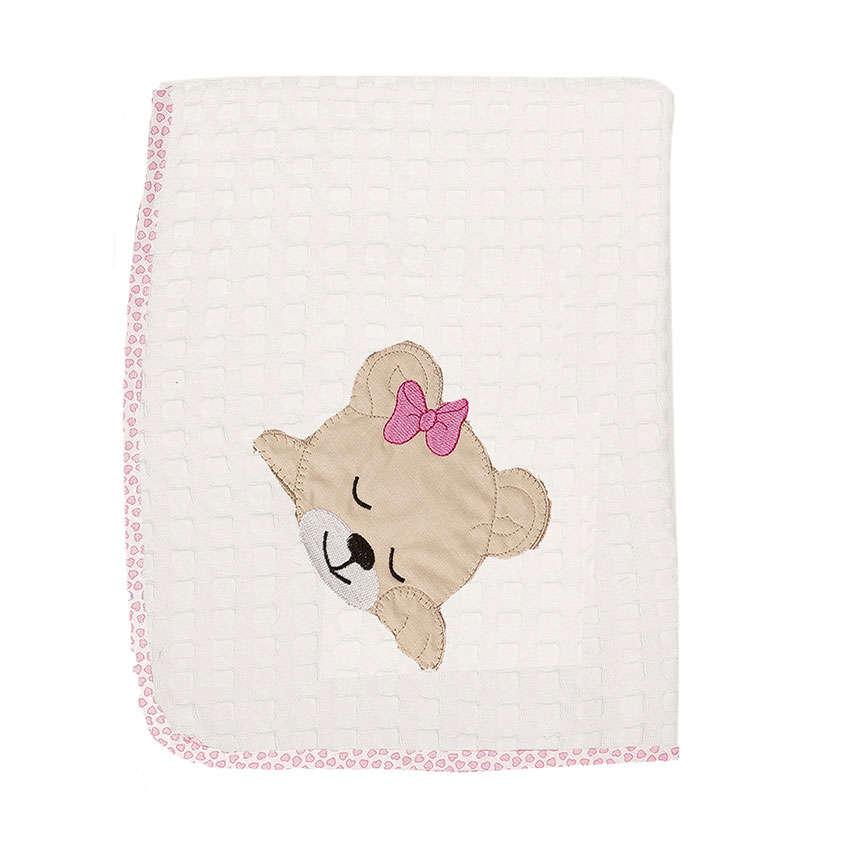 Κουβέρτα Πικέ Βρεφική Sleeping Bears Cub 12 Λευκό-Ροζ DimCol Κούνιας 100x160cm