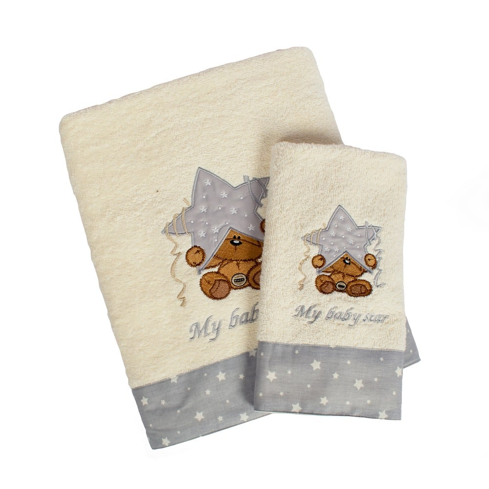 Πετσέτες Βρεφικές Σετ 2τμχ Αστέρι 129 Ecru-Grey DimCol Σετ Πετσέτες