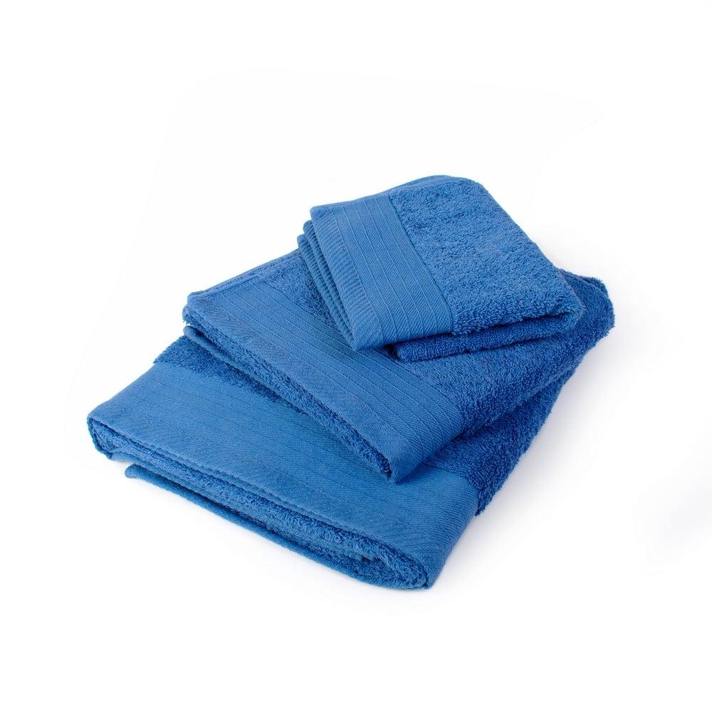 Πετσέτες Σετ 3τμχ Πενιέ Blue DimCol Σετ Πετσέτες