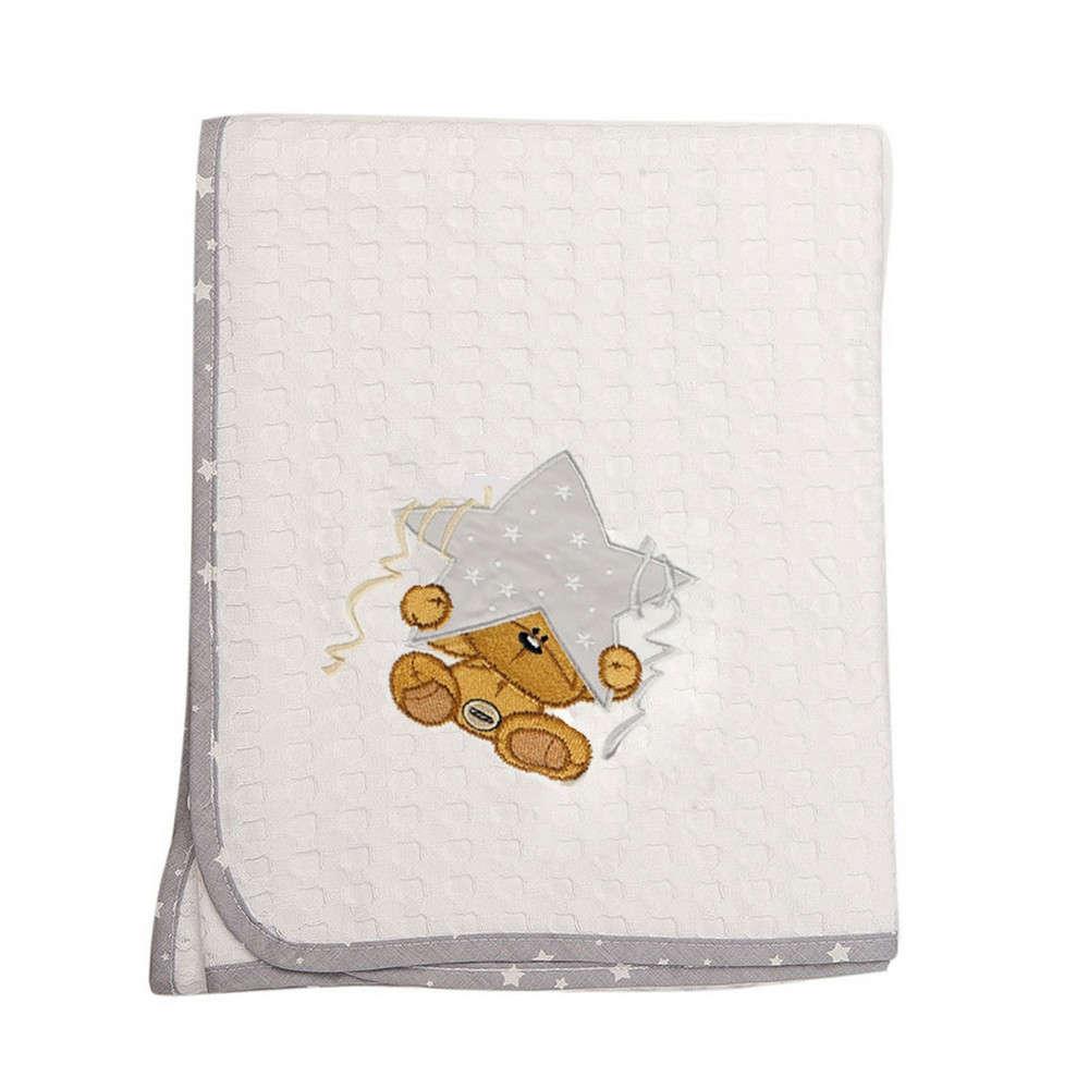Κουβέρτα Βρεφική Πικέ Αστέρι 124 White-Grey DimCol Αγκαλιάς 80x110cm