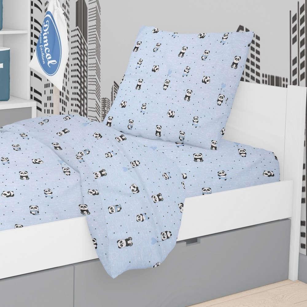 Μαξιλαροθήκη Παιδική Εμπριμέ Panda 110 Sky Blue DimCol 50Χ70 50x70cm